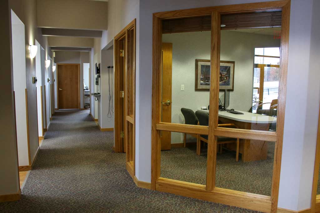 Hallway with Dr. Wanserski's office to the right at Wanserski Dental Center for Complex Dentistry