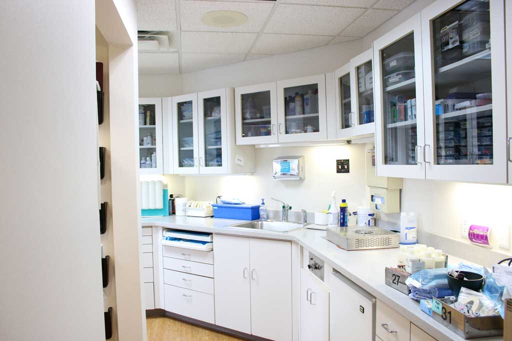 Medicine and lab amenities storage cabinets at Wanserski Dental Center for Complex Dentistry